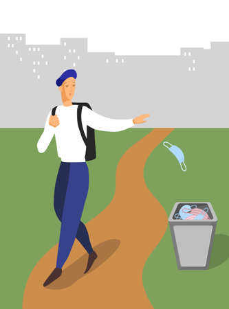 The man walking and throws out a medical mask. Quarantine is over. Vector illustration Çizim