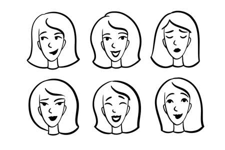 Faces with different types of moods. . Vector illustration Illustration