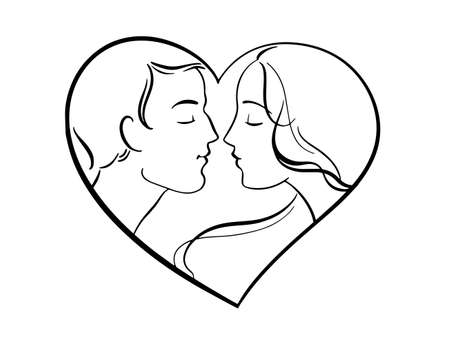 Hand-drawn young couple. Two people in love. Heart-shaped frame.