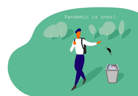 The man walking and throws out a medical mask. Quarantine is over. Vector illustration Stock Illustratie