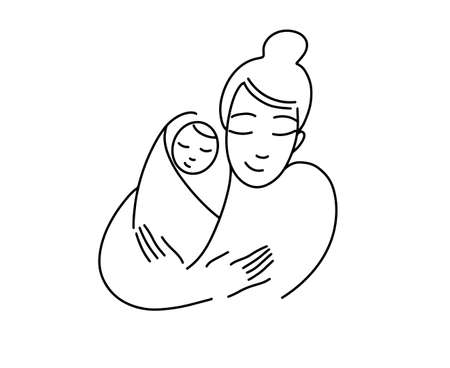 Illustration for a logo, mother with a baby in her arms. Newborn child. Line drawing. Happy Motherhood. Logo for childbirth preparation courses. Vector graphics.