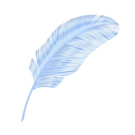 Realistic feather, elegant element. Blue bird feather. Vector illustration Иллюстрация