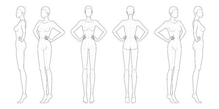 Fashion template 9 head for technical drawing with main lines. Womans figure front, back, 3-4 and side view. Vector outline girl model template for fashion sketching and fashion illustration.