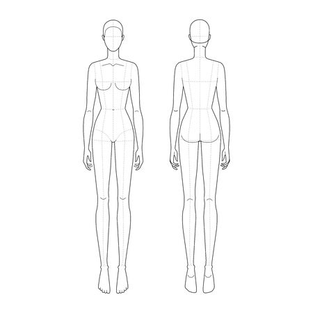 Fashion template 9 head for technical drawing with main lines. Woman's figure front and back. Vector outline girl model template for fashion sketching and fashion illustration. Vettoriali