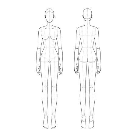 Moda szablon 9 głowy do rysunku technicznego z głównymi liniami. Postać kobieca z przodu iz tyłu. Wektor zarys szablon modelu dziewczyna moda szkicowanie i ilustracja moda.