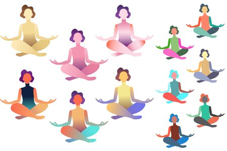 Set of abstract meditated women in different colours.  Female cartoon character sitting in lotus posture and meditating vipassana meditation with flowers in body and yoga mat. Colourful flat vector Ilustrace