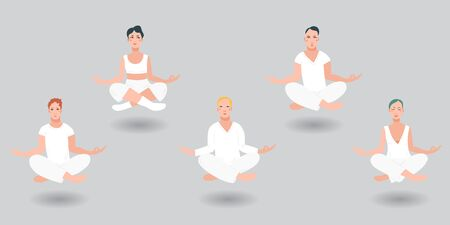 Group of men and women floating in the air in a lotus position in white clothes performing  vipassana meditation. Levitation of people, grey background of cartoon character. Flat vector illustration. Ilustração