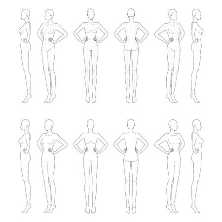 Fashion template of lady with hands on waist. 9 head size for technical drawing. Womans figure front, side and back view. Vector outline girl template for fashion sketching and illustration.