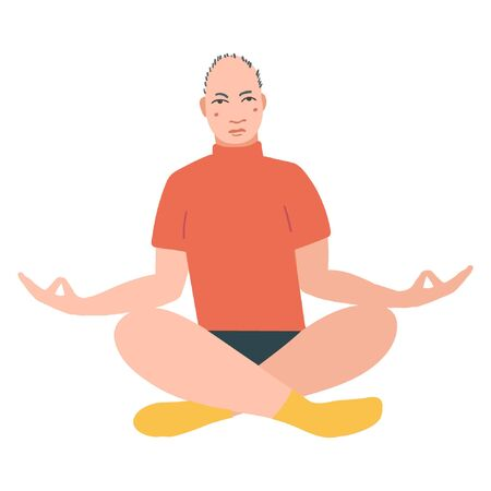 Young pretty men performing yoga exercise. Male cartoon character sitting in lotus posture and meditating vipassana meditation. Girl with crossed legs isolated. Colorful flat vector illustration