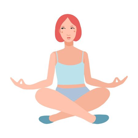 Young pretty woman performing yoga exercise. Female cartoon character sitting in lotus posture and meditating vipassana meditation. Girl with crossed legs isolated. Colorful flat vector illustration Foto de archivo - 139797701