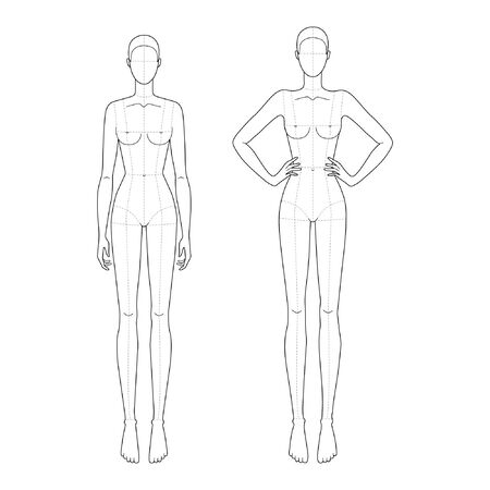 Fashion template 9 head for technical drawing with main lines with 2 position of hands. Womans figure front view. Vector outline girl model template for fashion sketching for fashion illustration.