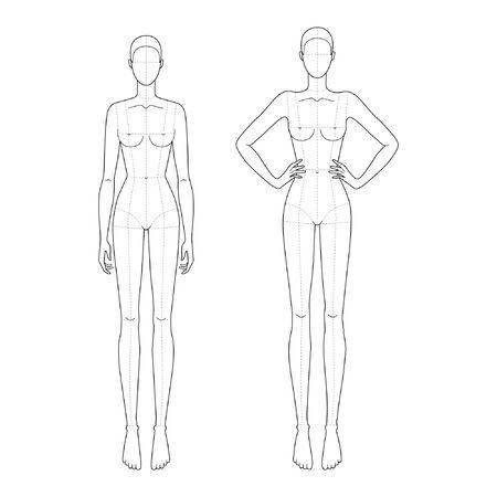 Modevorlage 9 Kopf für technisches Zeichnen mit Hauptlinien mit 2 Handhaltungen. Womans Figur Vorderansicht. Vektorentwurfs-Mädchenmodellschablone für Modeskizzen für Modeillustration. Vektorgrafik