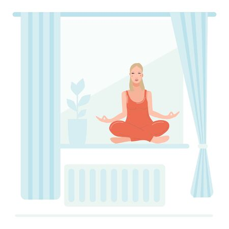 Young pretty woman sitting on the window in her room, performing yoga exercise. Female cartoon character sitting in lotus posture and meditating vipassana meditation. Girl with crossed legs isolated.