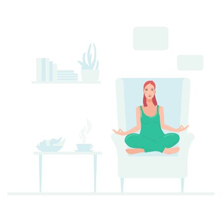 Young pretty woman sitting on chair in her room performing yoga exercise. Female cartoon character sitting in lotus posture and meditating vipassana meditation. Girl flat with crossed legs isolated.