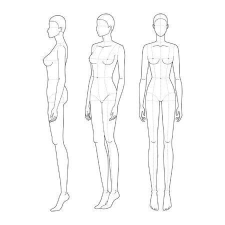 Moda szablon 9 głowy do rysunku technicznego z głównymi liniami. Figura kobieca z przodu, 3-4 i widok z boku. Wektor zarys szablon modelu dziewczyna moda szkicowanie dla ilustracji mody.