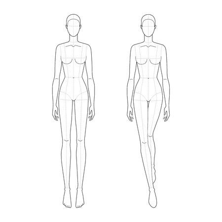 Fashion template of walking and standing lady with main lines. 9 head size for technical drawing. Womans figure front view. Vector outline girl template for fashion sketching and illustration.
