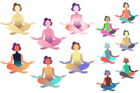 Set of abstract meditated women in different colours. Female cartoon character sitting in lotus posture and meditating vipassana meditation with flowers in body and yoga mat. Colourful flat vector