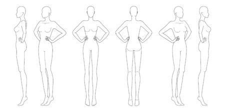 Fashion template 9 head for technical drawing with hands on waist. Womans figure front, back, 3-4 and side view. Vector outline girl model template for fashion sketching for fashion illustration.