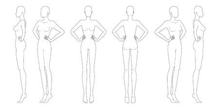 Plantilla de moda 9 cabeza para dibujo técnico con las manos en la cintura. Figura de mujer vista frontal, posterior, 3-4 y lateral. Plantilla de modelo de chica de contorno vectorial para bocetos de moda para ilustración de moda.