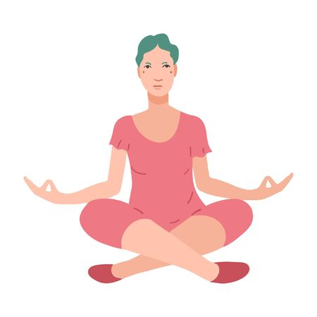 Young pretty woman performing yoga exercise. Female cartoon character sitting in lotus posture and meditating vipassana meditation. Girl with crossed legs isolated. Colorful flat vector illustration Foto de archivo - 139797742