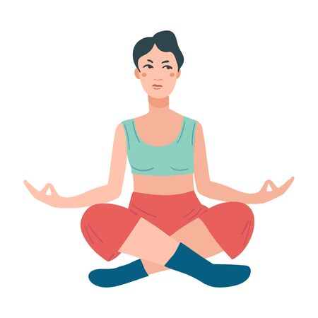 Young pretty woman performing yoga exercise. Female cartoon character sitting in lotus posture and meditating vipassana meditation. Girl with crossed legs isolated. Colorful flat vector illustration Foto de archivo - 139797752
