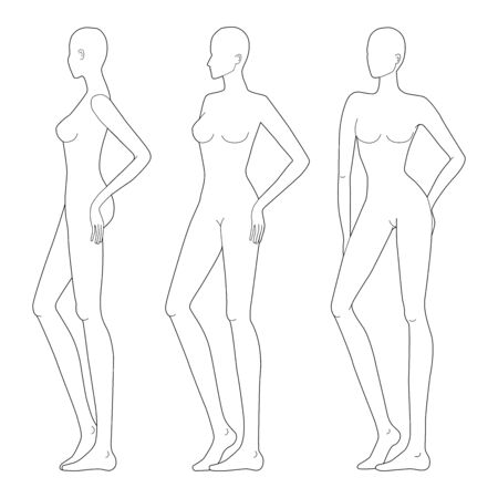 Fashion template of lady in standing poses. 9 head size for technical drawing. Womans figure front and side view. Vector outline girl template for fashion sketching and illustration.