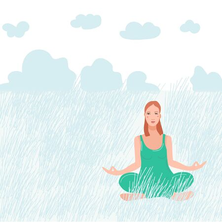 Young pretty woman sitting on nature and performing yoga exercise. Female cartoon character sitting in lotus posture and meditating vipassana meditation. Girl with crossed legs flat isolated. Ilustração