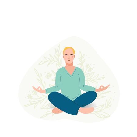 Young handsome men performing yoga exercise. Male cartoon character sitting in lotus posture and meditating vipassana meditation. Men with crossed legs isolated. Colorful flat vector illustration Ilustração