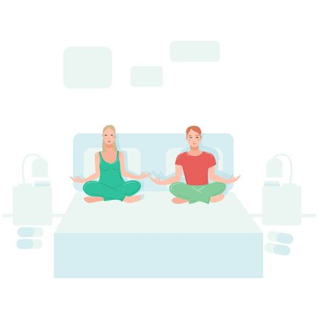 Young couple sitting in their bedroom and performing yoga exercise. Female and male cartoon character sitting in lotus posture and meditating vipassana meditation with crossed legs isolated flat.