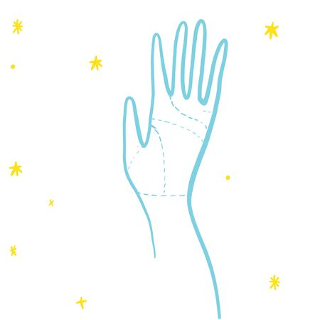 Hand for palmistry with stars in yellow and blue colours in doodles hand drawn style. Print for t-shirt for kids fashion artwork children and adults books. Fashion illustration drawing in modern style.
