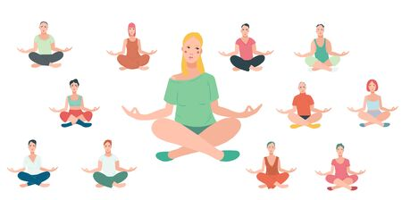 Young people performing yoga exercise. Female and male cartoon characters sitting in lotus posture and meditating vipassana meditation. Girls and boys with crossed legs isolated. Colorful flat vector