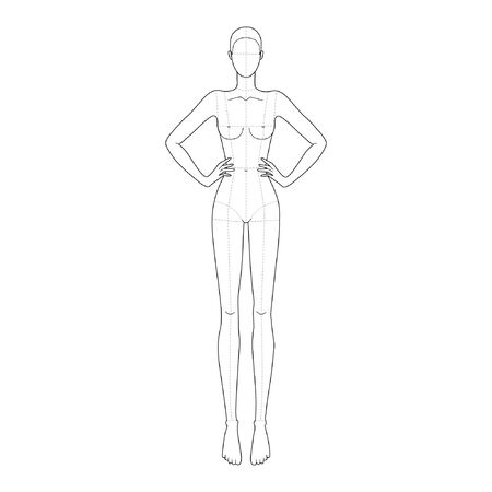 Fashion template 9 head for technical drawing with main lines with hand on waist. Womans figure front view. Vector outline girl model template for fashion sketching for fashion illustration.