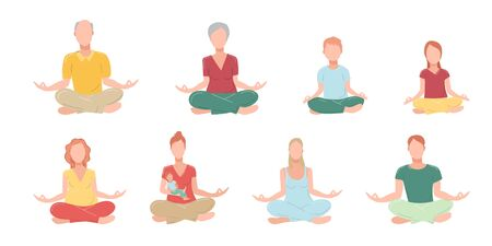 Set of family members performing yoga exercise. Men, women, children and grandmother, grandfather cartoon character sitting in lotus posture and meditating vipassana meditation. Flat isolated.