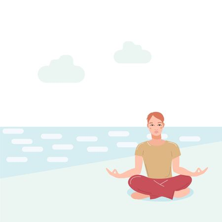 Young handsome men sitting near sea on beach performing yoga exercise. Male cartoon character sitting in lotus posture and meditating vipassana meditation. Boy with crossed legs isolated.
