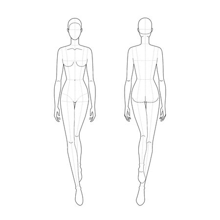 Fashion template of walking lady with main lines. 9 head size for technical drawing. Womans figure front and back view. Vector outline girl template for fashion sketching and illustration. Vetores