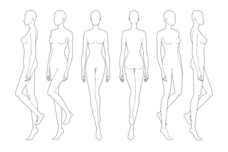 Fashion template of walking lady. 9 head size for technical drawing. Womans figure front, back and side view. Vector outline girl template for fashion sketching and illustration.