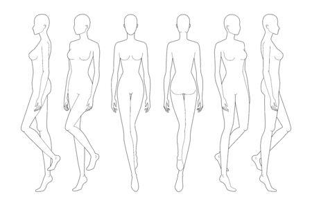 Modèle de mode de dame qui marche. 9 tailles de tête pour le dessin technique. La figure de la femme vue avant, arrière et latérale. Modèle de fille de contour vectoriel pour le dessin et l'illustration de la mode.