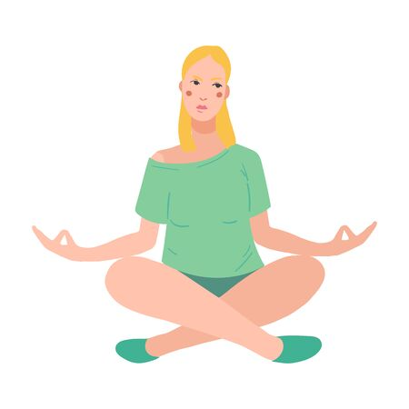 Young pretty woman performing yoga exercise. Female cartoon character sitting in lotus posture and meditating vipassana meditation. Girl with crossed legs isolated. Colorful flat vector illustration