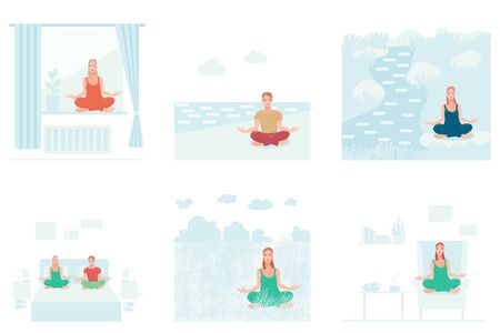 Set of woman and men performing yoga exercises different places. Female and male cartoon characters sitting in lotus posture and meditating vipassana meditation. Flat isolated illustration.