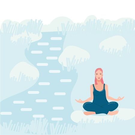 Young pretty woman sitting near river in the forest and performing yoga exercise. Female cartoon character sitting in lotus posture and meditating vipassana meditation. Girl with crossed legs flat. Foto de archivo - 139798655