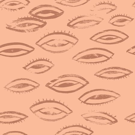 Anstract eye seamless trendy fashion pattern in terracotta and brown color. Hand drawn vector background. Trendy textile, fabric, wrapping.