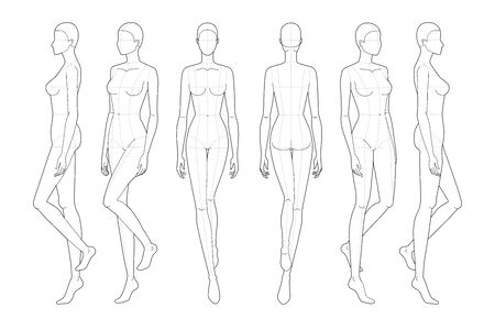Fashion template of walking women. 9 head size for technical drawing with main lines. Lady figure front, back, 3-4 and side view. Vector outline girl for fashion sketching and illustration.