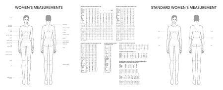 Terminología de moda de medidas de mujer Ilustración para tabla de tallas de dama. Niña de 9 tamaños de cabeza para sitio y tienda online. Plantilla de infografía del cuerpo humano con todos los nombres de todas las partes de la ropa.