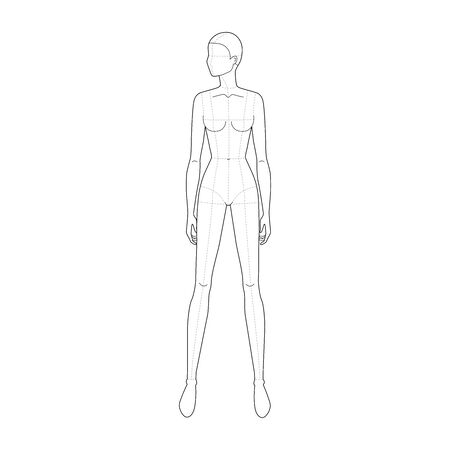 Fashion template of standing wide legs women looking left with main lines. 9 head size for technical drawing. Lady figure front view. Vector outline girl for fashion sketching and illustration.