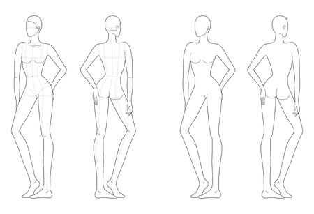 Fashion template of women in standing poses. 9 head size for technical drawing with and without main lines. Lady figure front and back view. Vector outline girl for fashion sketching and illustration.