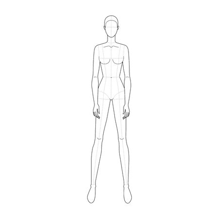 Fashion template of standing women with wide legs and main lines. 9 head size for technical drawing. Lady figure front view. Vector outline girl for fashion sketching and illustration. Stock Vector - 142907696