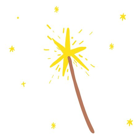 Magic wand with stars in brown and yellow colours in doodles hand drawn style. Print for t-shirt for kids fashion artwork children and adults books. Fashion illustration drawing in modern style.