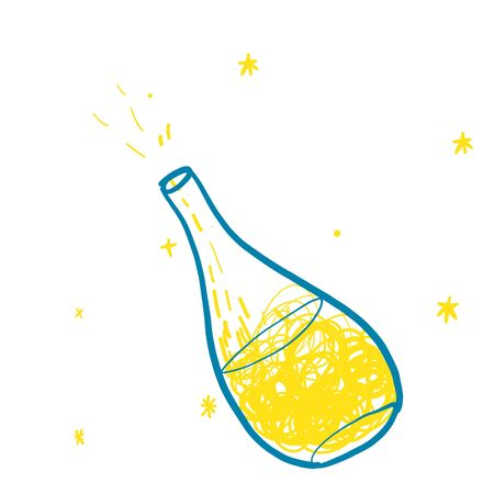 Bottle with magic in yellow and blue colours in doodles hand drawn style. Print for t-shirt for kids fashion artwork children and adults books. Fashion illustration drawing in modern style. Иллюстрация