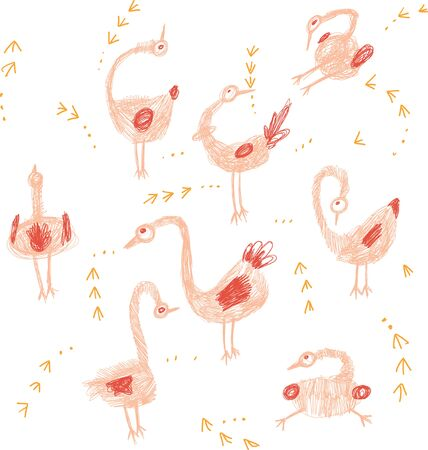 Crazy birds hand drawing set in pink and orange colour for children. Print for t-shirt for kids fashion artwork children and adults books. Fashion illustration drawing in modern style.