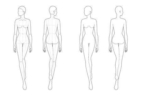 Fashion template of walking women. 9 head size for technical drawing with and without main lines. Lady figure front and back view. Vector outline girl for fashion sketching and illustration.